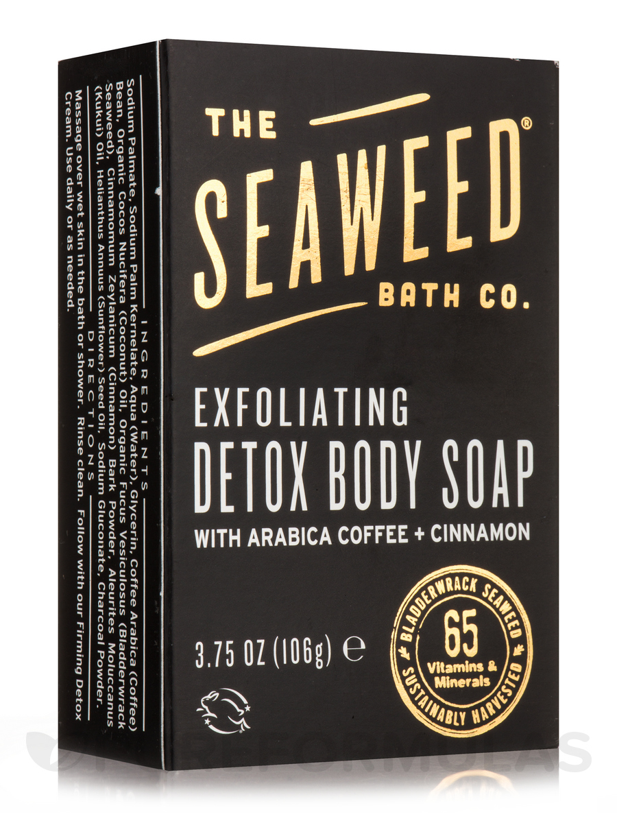 Exfoliating Detox Body Soap Bar, Arabica Coffee + Cinnamon - 3.75 oz (106 Grams)