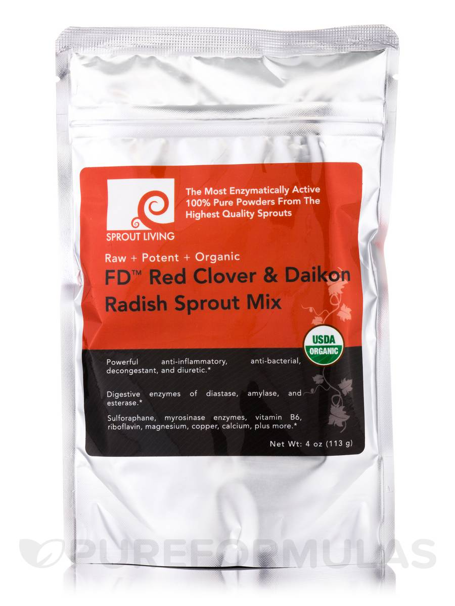 FD™ Red Clover & Daikon Radish Sprout Mix - 4 oz (113 Grams)