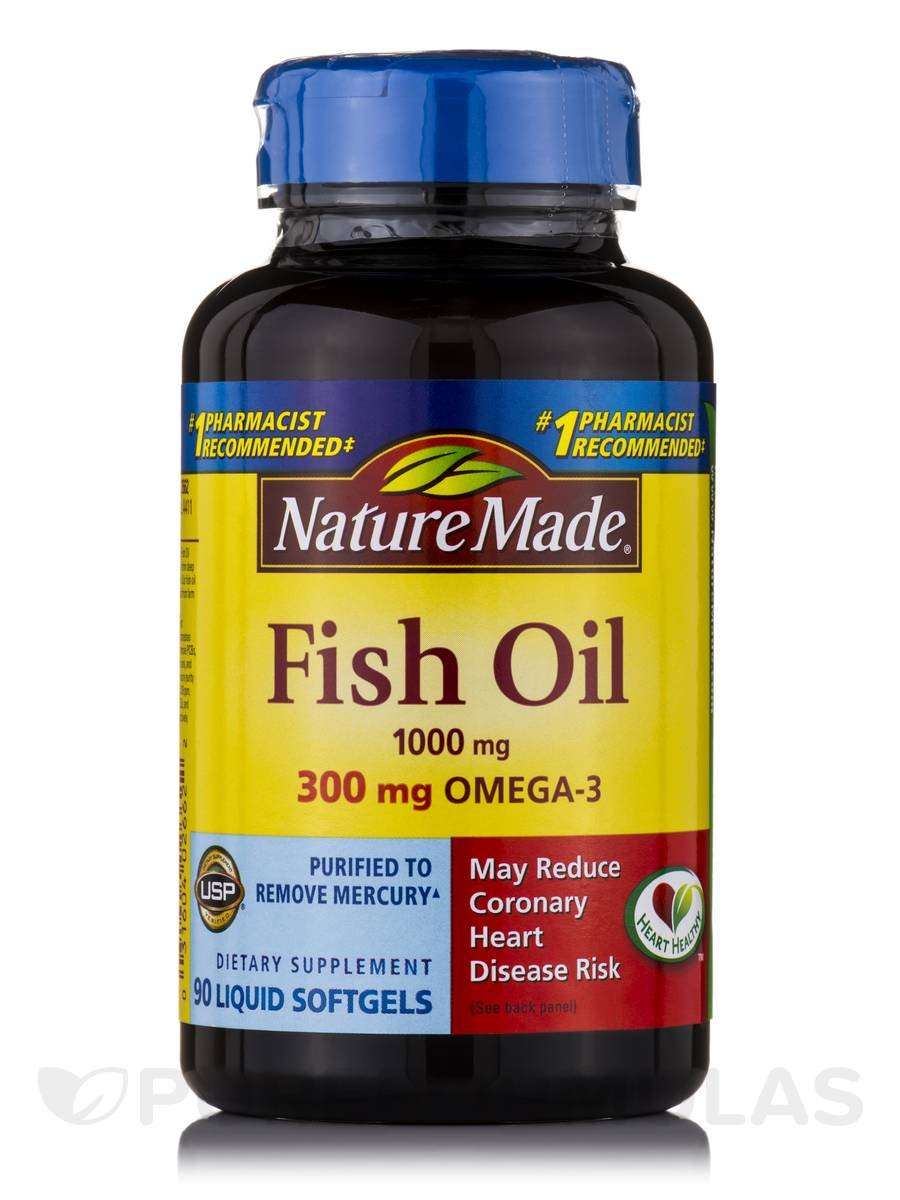 Fish Oil 1000 mg Omega-3 300 mg - 90 Softgels