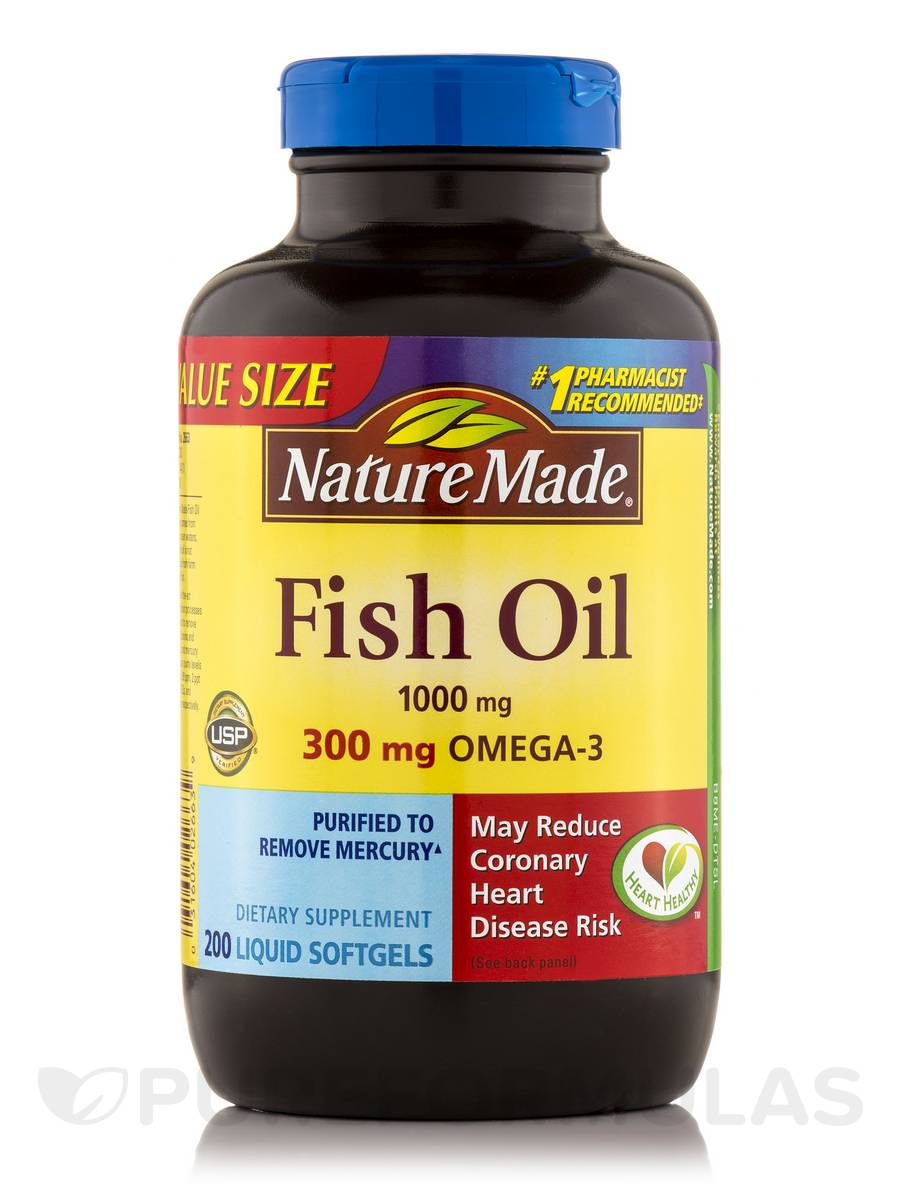 Fish oil 1000 mg omega 3 300 mg 200 softgels for Nature s bounty fish oil review