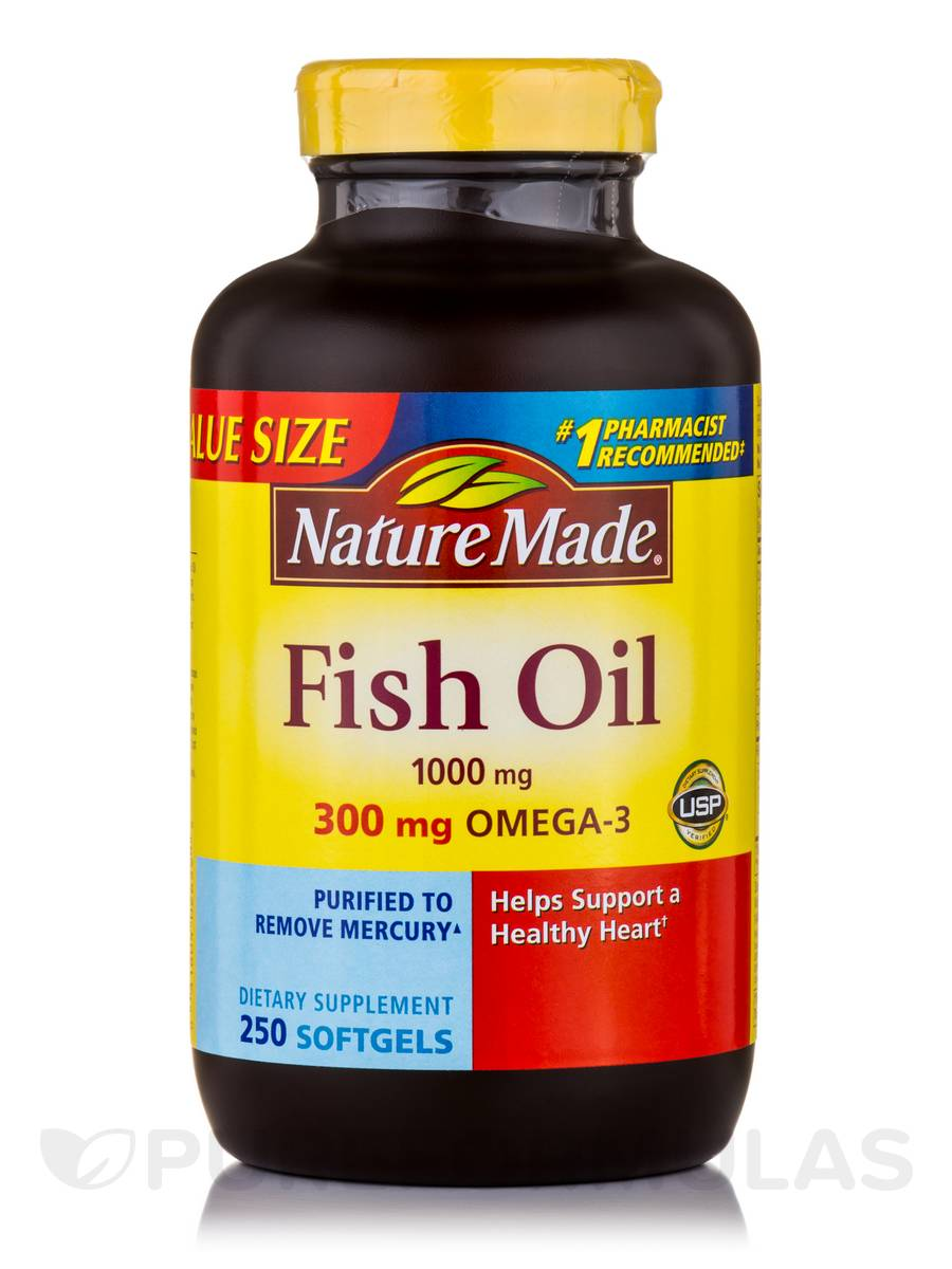 Fish oil 1000 mg omega 3 300 mg 250 softgels for Nature s bounty fish oil review