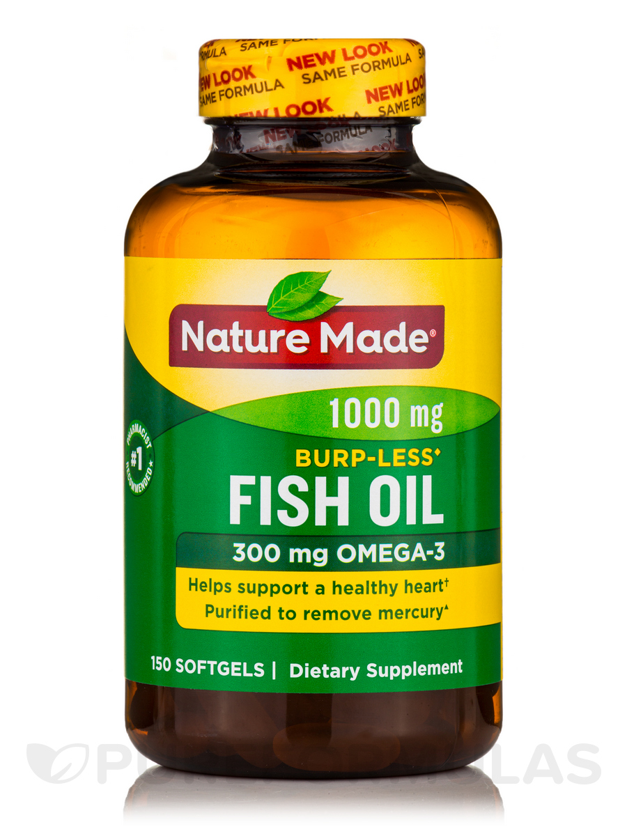 Fish oil 1000 mg burp less 150 softgels for Nature made fish oil review