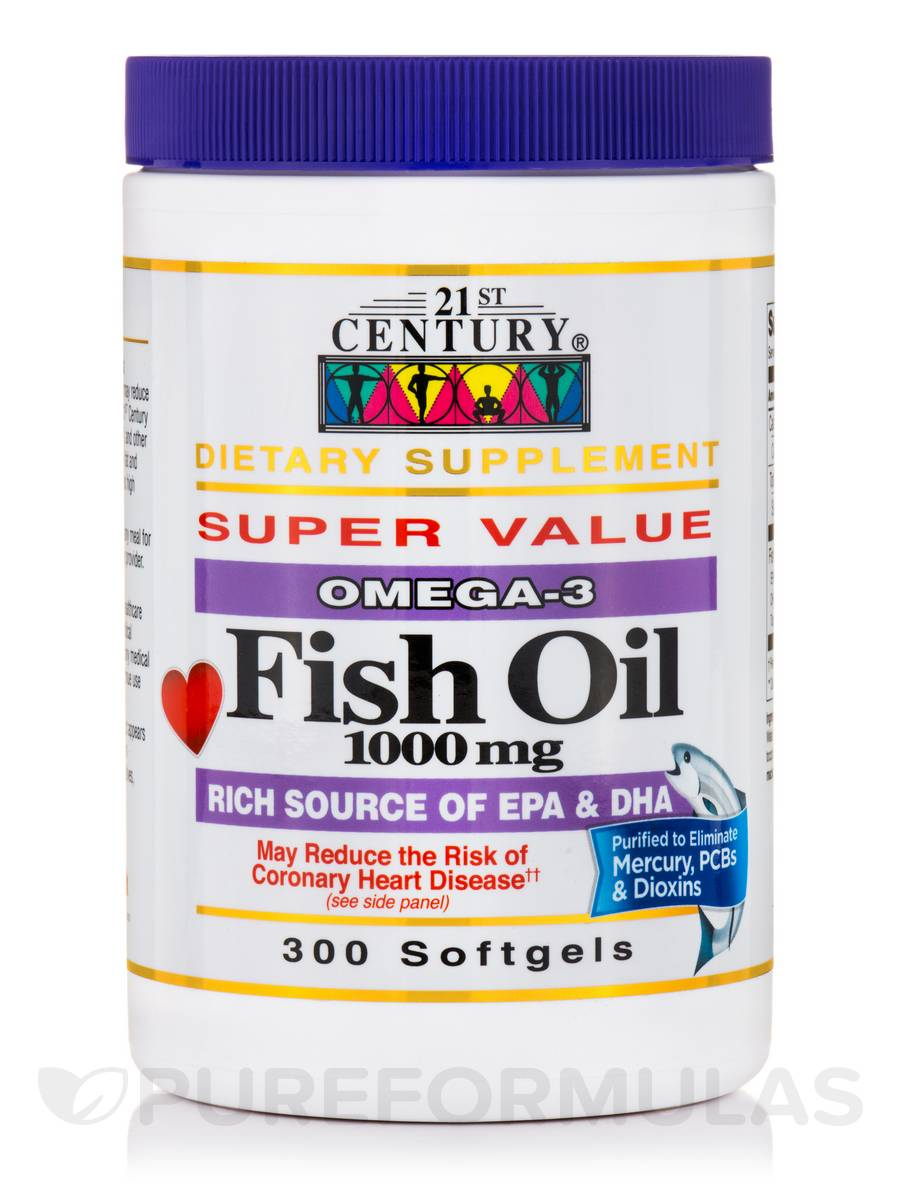 Fish Oil 1000 mg Omega-3 - 300 Softgels
