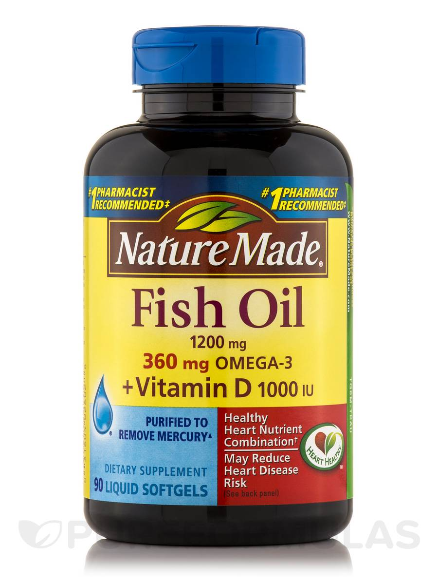 Fish oil 1200 mg omega 3 360 mg vitamin d 90 softgels for Vitamin d fish