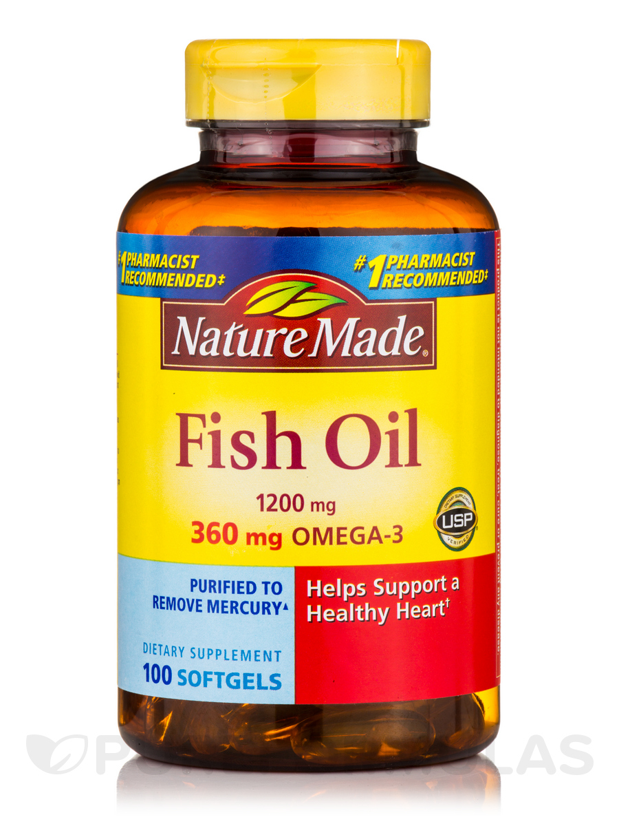 Fish oil 1200 mg omega 3 360 mg 100 softgels for Nature made fish oil review