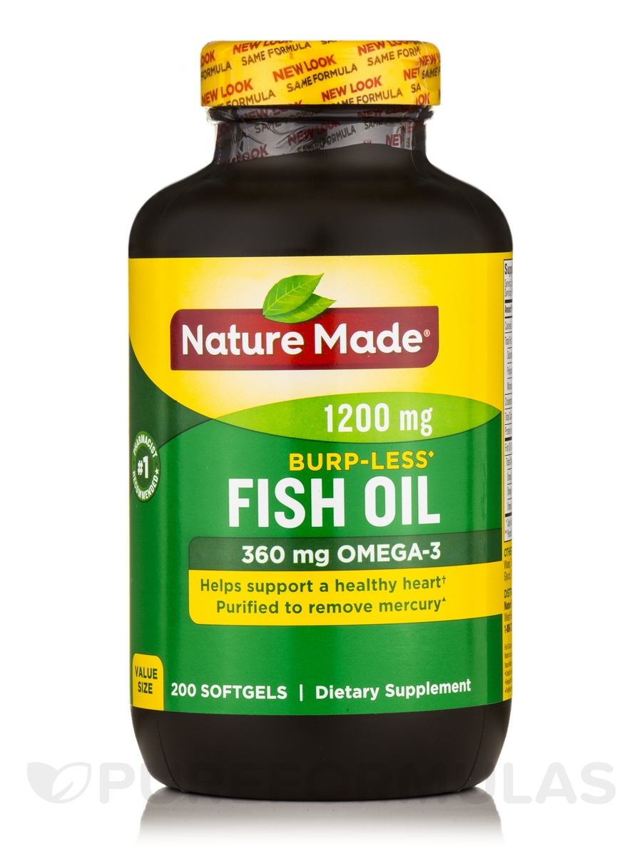 Fish oil 1200 mg omega 3 360 mg burp less 200 softgels for Fish omega 3