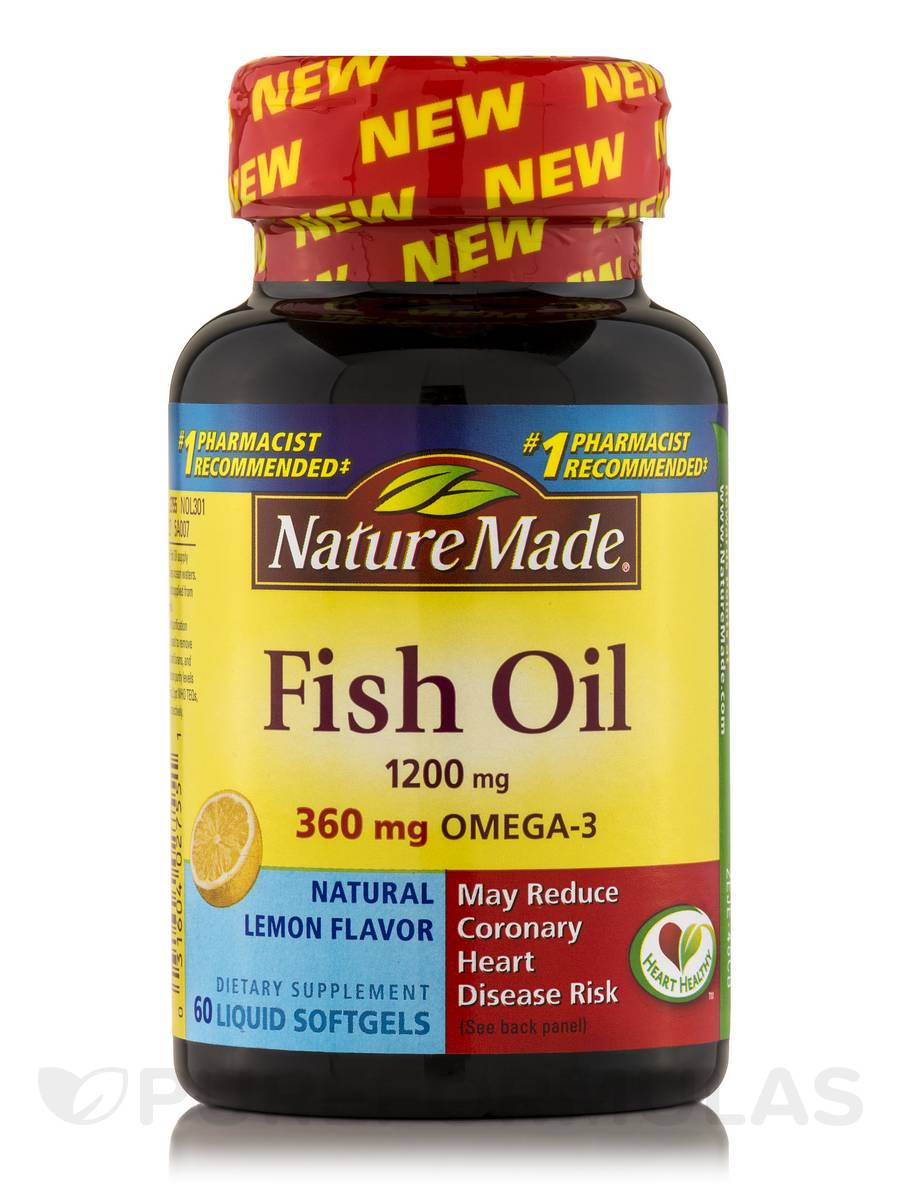 Fish Oil 1200 mg Omega-3 360 mg (Lemon) - 60 Softgels