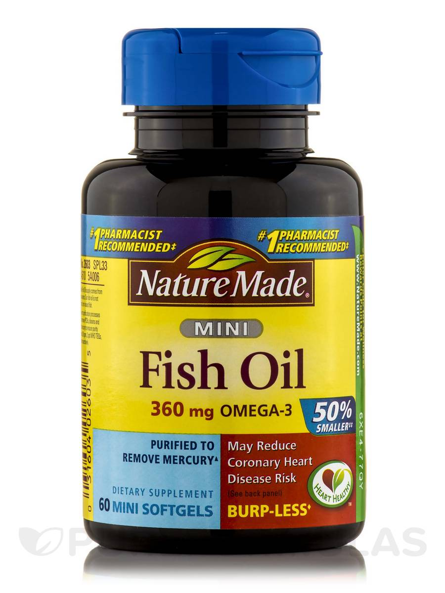 Fish Oil 500 mg Omega-3 360 mg Mini - 60 Softgels