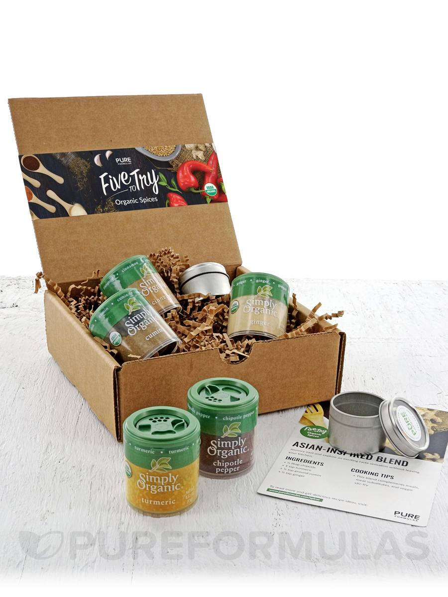 Five to Try: Organic Spices- Exotic w/ FREE seasoning recipes & 2 spice containers