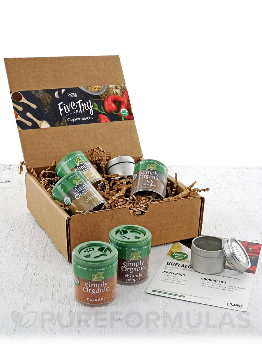 Five to Try: Organic Spices- Extra Kick w/ FREE seasoning recipes & 2 spice containers