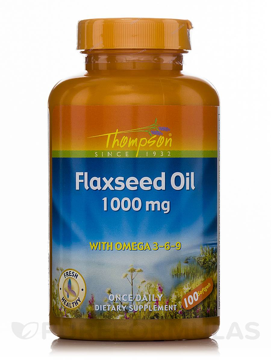 Flaxseed Oil 1000 mg with Omega 3-6-9 - 100 Softgels