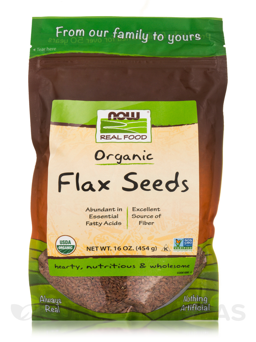 NOW® Real Food - Organic Flax Seeds - 16 oz (454 Grams)