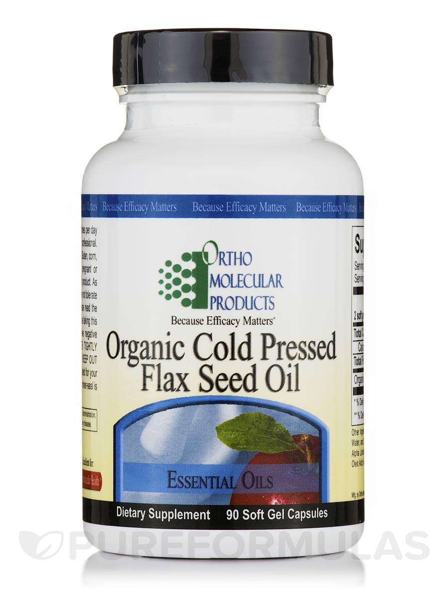 Organic Cold Pressed Flax Seed Oil - 90 Soft Gel Capsules