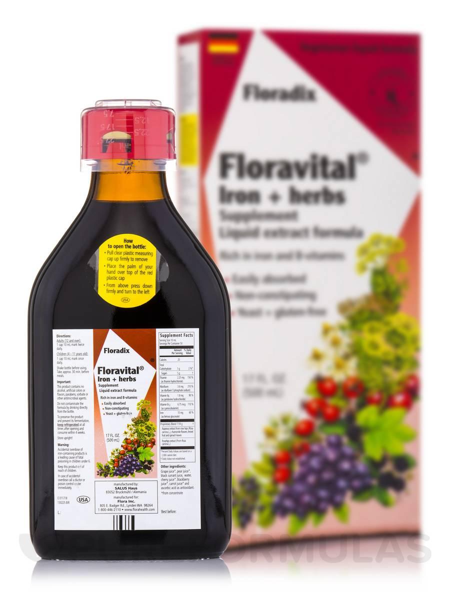 FloraVital® Iron + Herbs (Yeast Free) - 17 fl. oz (500 ml)
