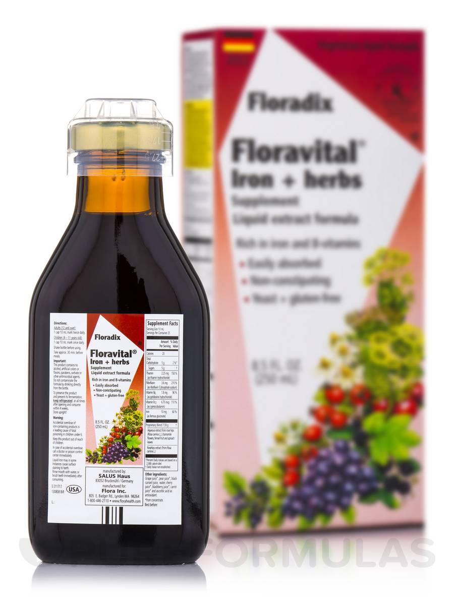 FloraVital® Iron + Herbs (Yeast Free) - 8.5 fl. oz (250 ml)