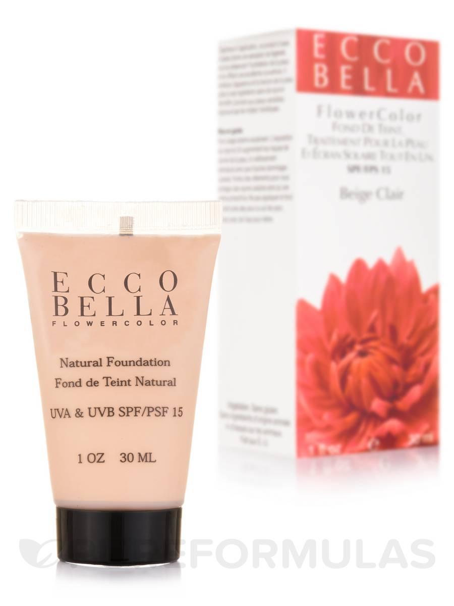 FlowerColor Natural Liquid Foundation UVA/UVB SPF15, Light Beige - 1 fl. oz (30 ml)