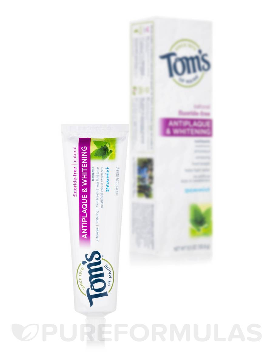 Fluoride-Free Antiplaque & Whitening Toothpaste, Spearmint - 5.5 oz (155.9 Grams)