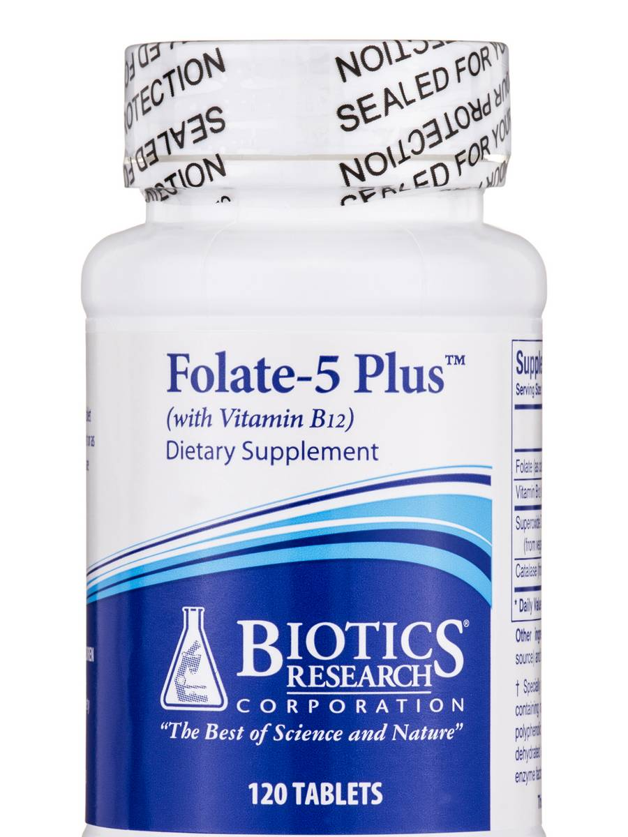 Folate-5 Plus with B12 - 120 Tablets