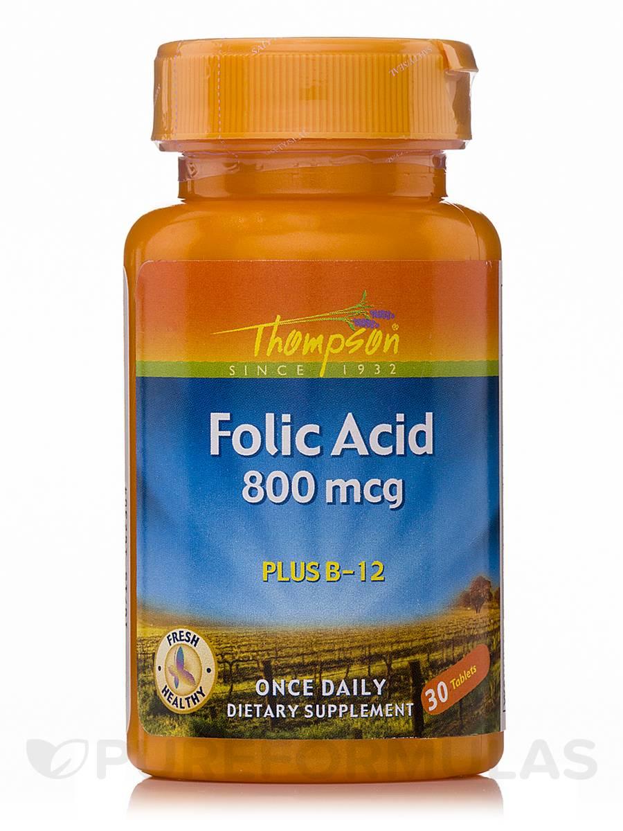 Folic Acid 800 mcg Plus B-12 - 30 Tablets