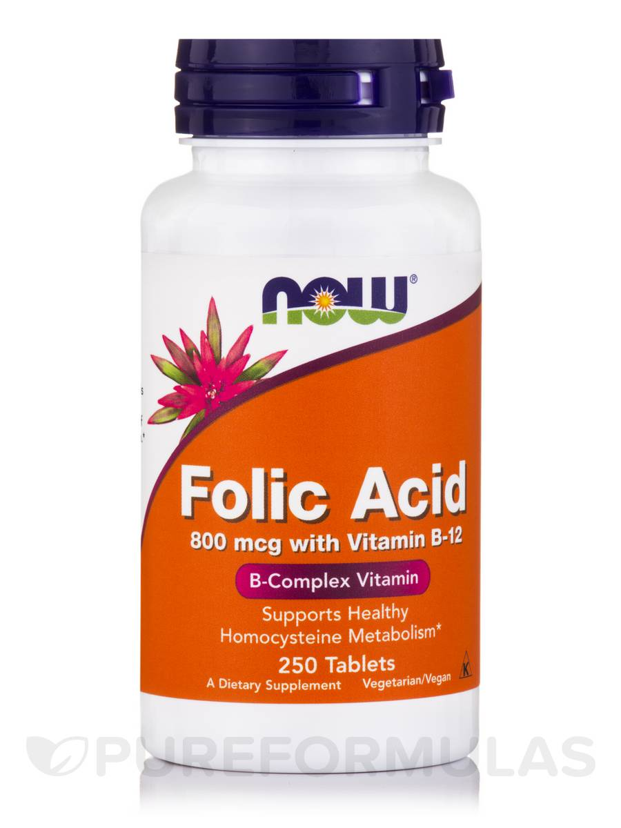 Folic Acid 800 mcg with Vitamin B-12 25 mcg - 250 Tablets