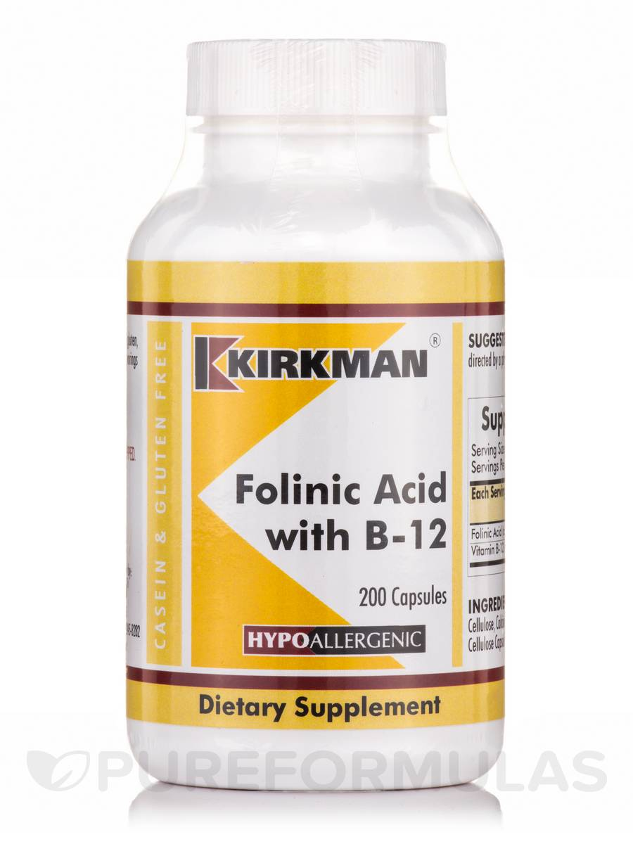 Folinic Acid with B-12 -Hypoallergenic - 200 Capsules