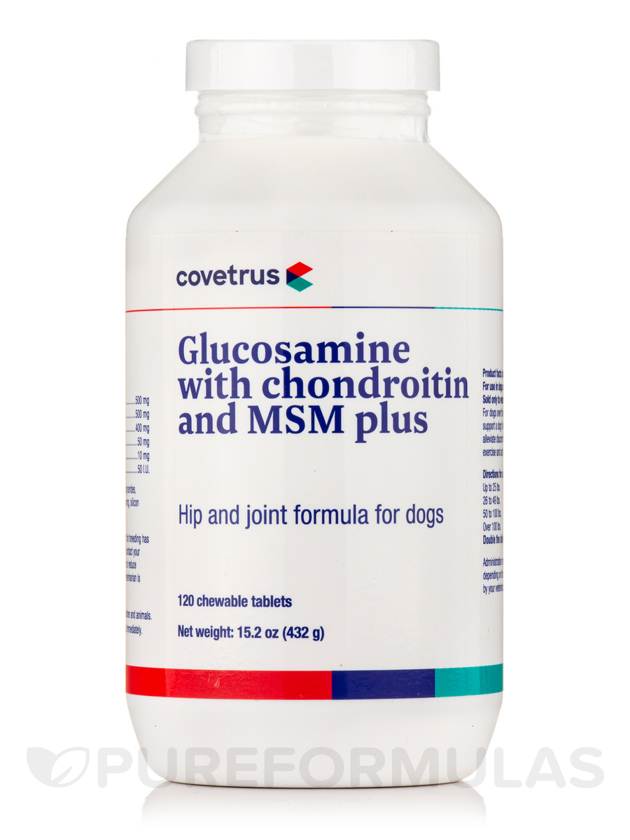 Glucosamine with Chondroitin and MSM Plus, Hip and Joint formula for Dogs - 120 Chewable Tablets