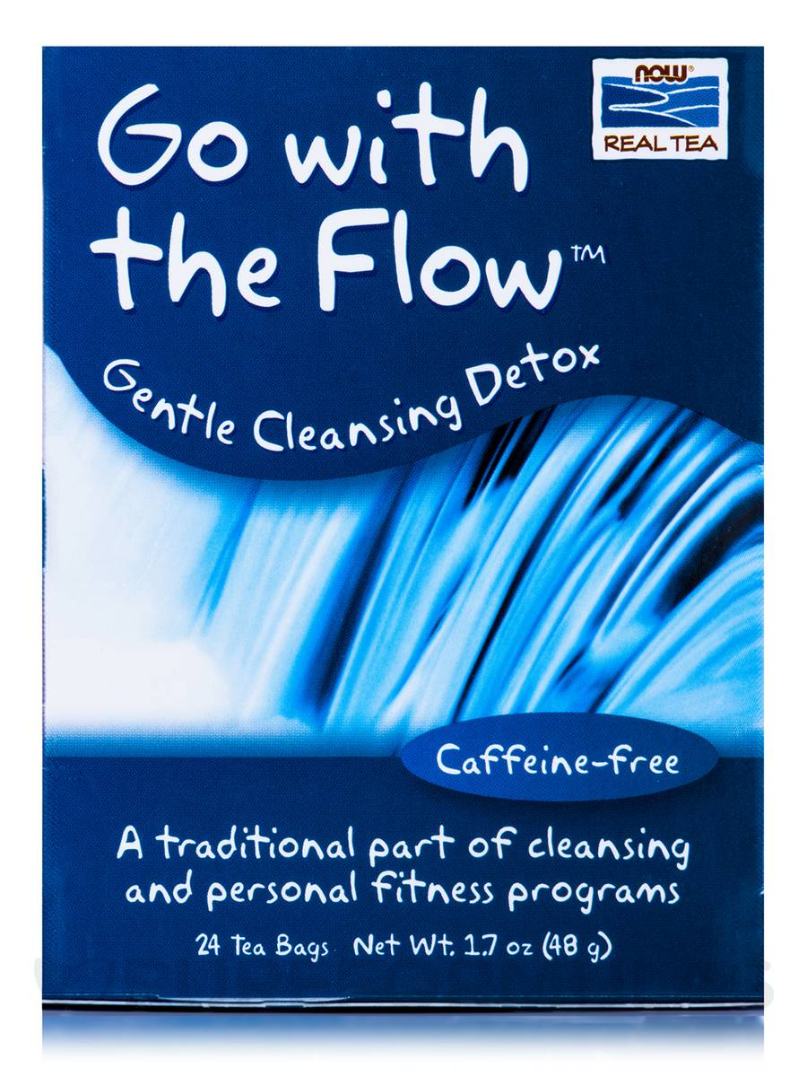 NOW® Real Tea - Go With The Flow Tea Bags, Cleansing Detox - Box of 24 Packets