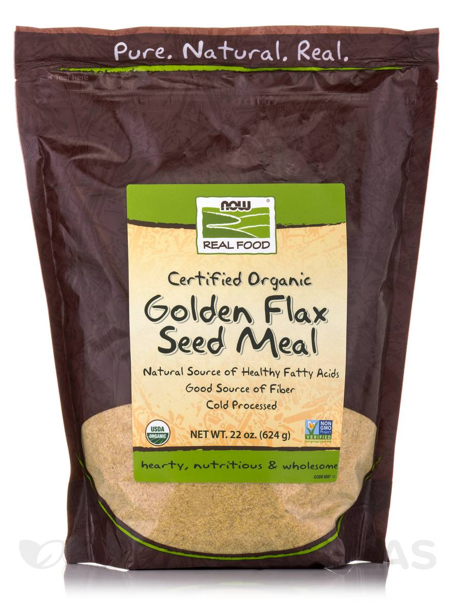 NOW® Real Food - Organic Golden Flax Seed Meal - 22 oz (624 Grams)