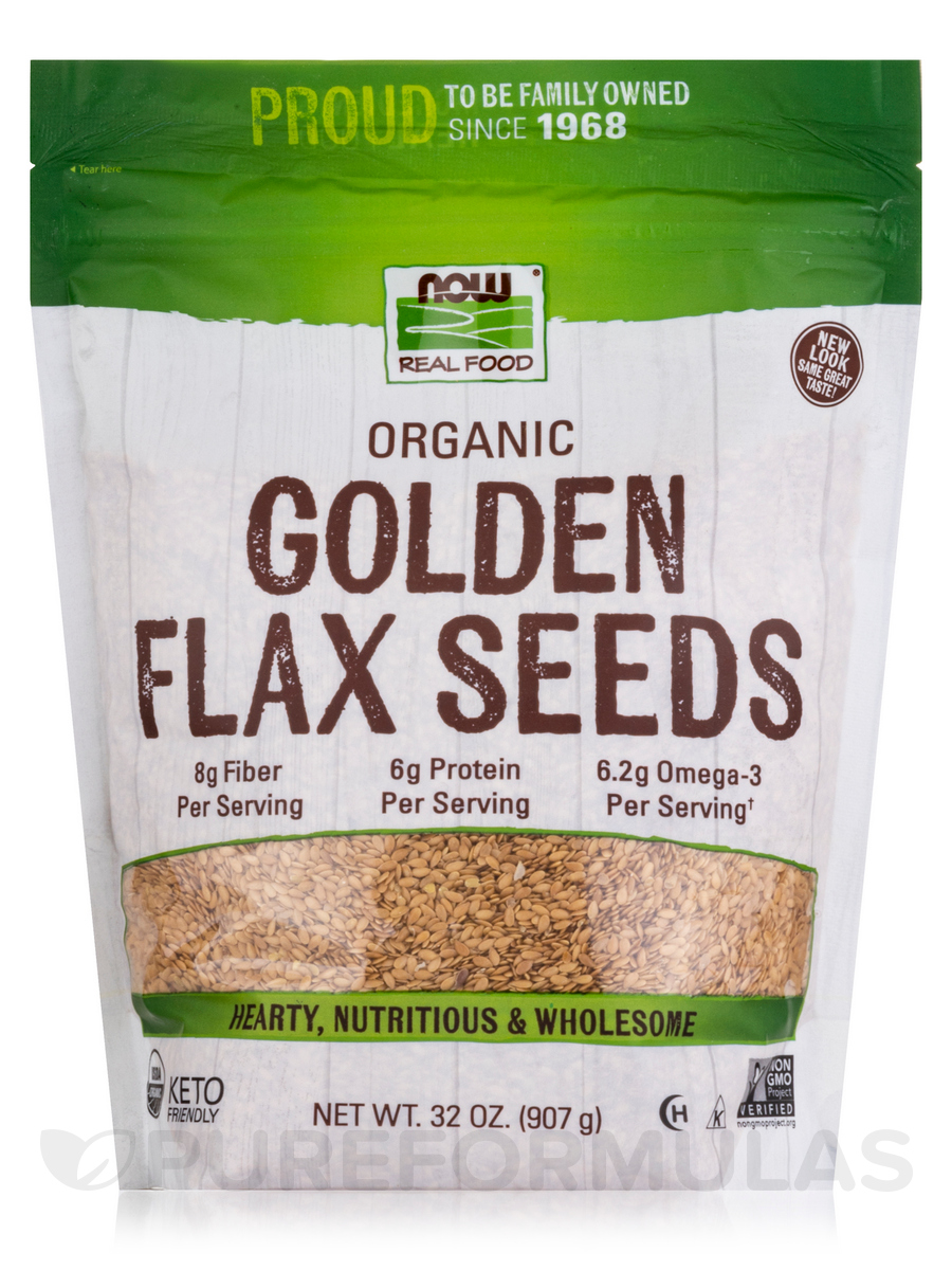 NOW® Real Food - Golden Flax Seeds - 2 lbs (907 Grams)
