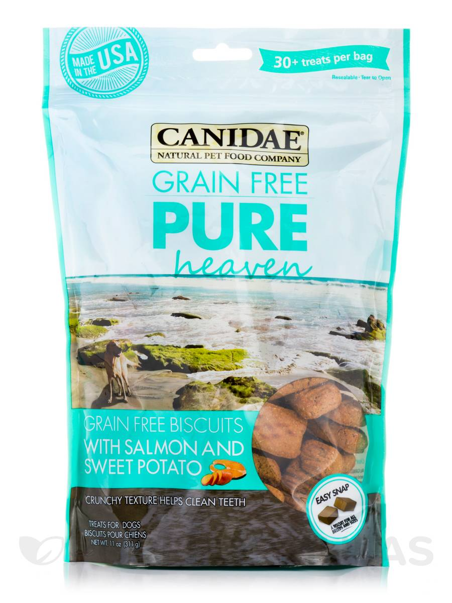 Grain Free Pure Heaven Treats for Dogs with Salmon and Sweet Potato - 30+ Treats Per Bag (11 oz / 311 Grams)