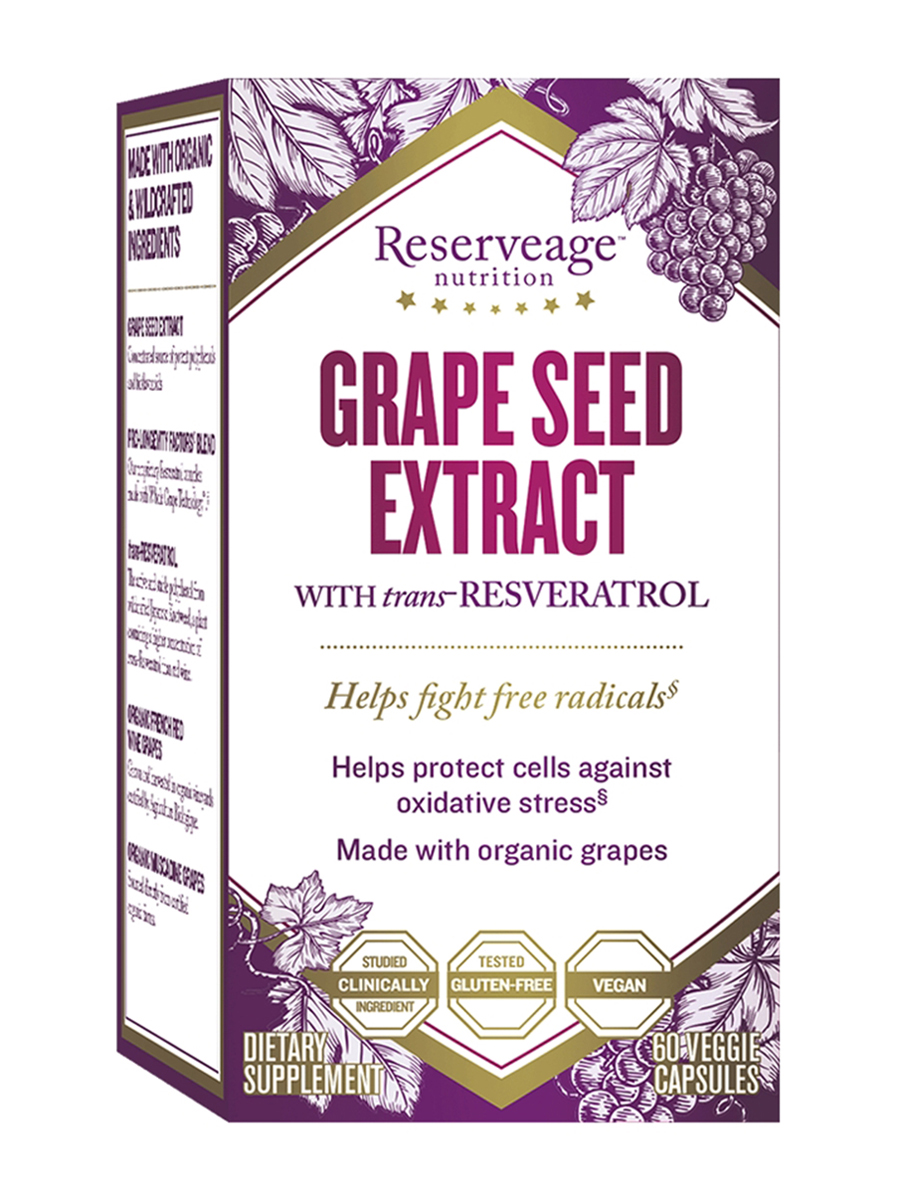 Grape Seed Extract 325 mg with Resveratrol - 60 Veggie Capsules