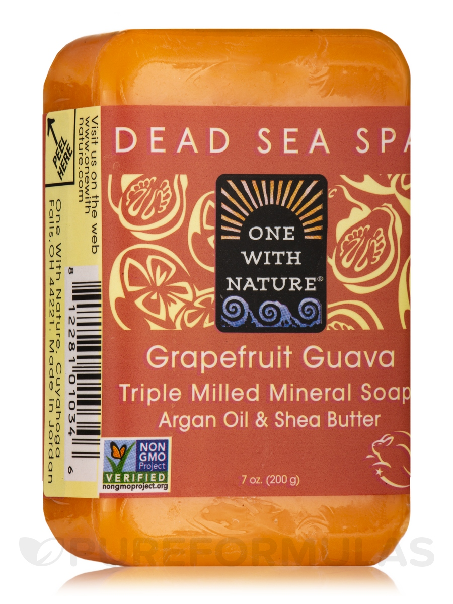 Grapefruit Guava - Triple Milled Mineral Soap Bar with Argan Oil & Shea Butter - 7 oz (200 Grams)