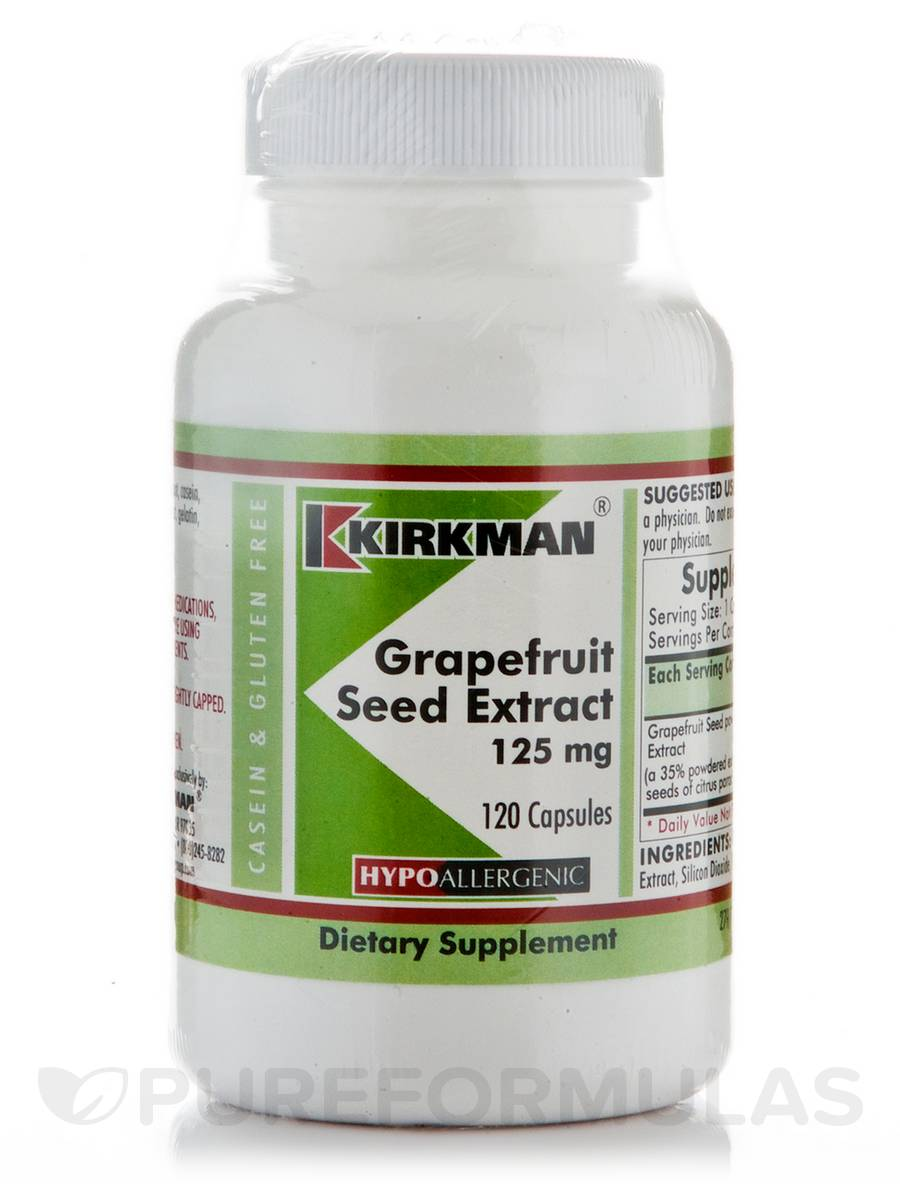 Grapefruit Seed Extract 125 mg -Hypoallergenic - 120 Capsules