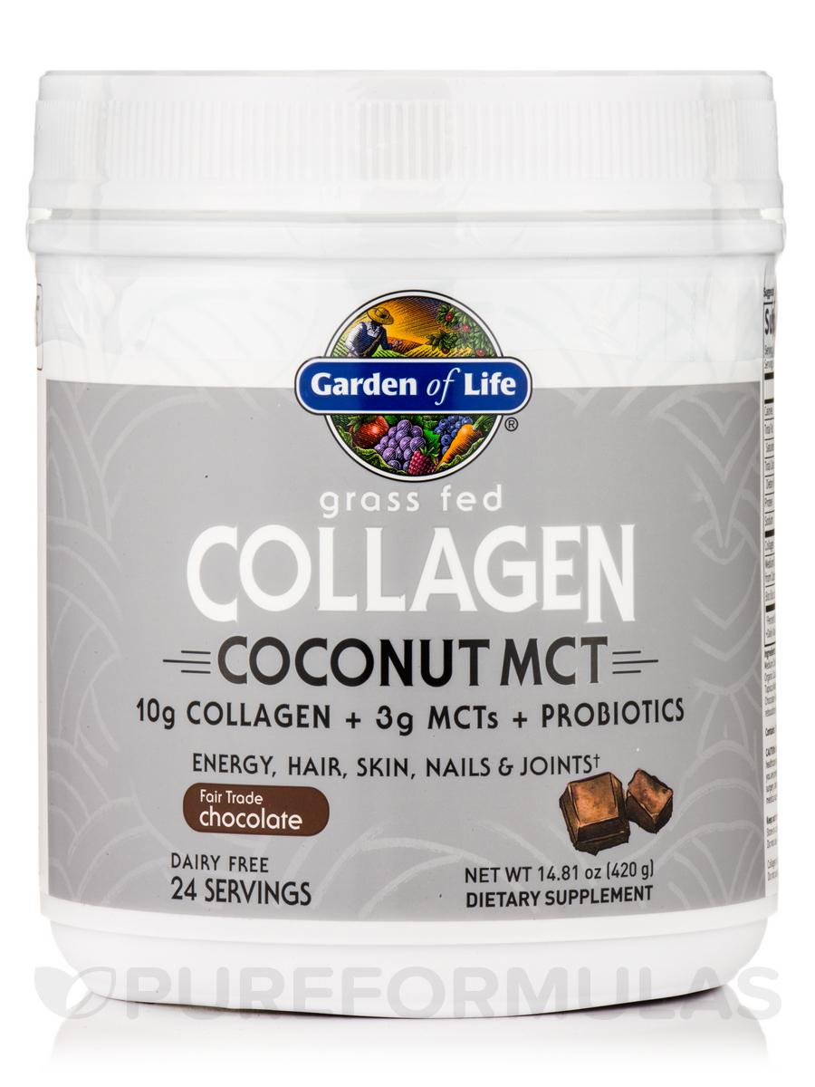 Grass Fed Collagen Coconut MCT Powder, Chocolate - 14.81 oz (420 Grams)