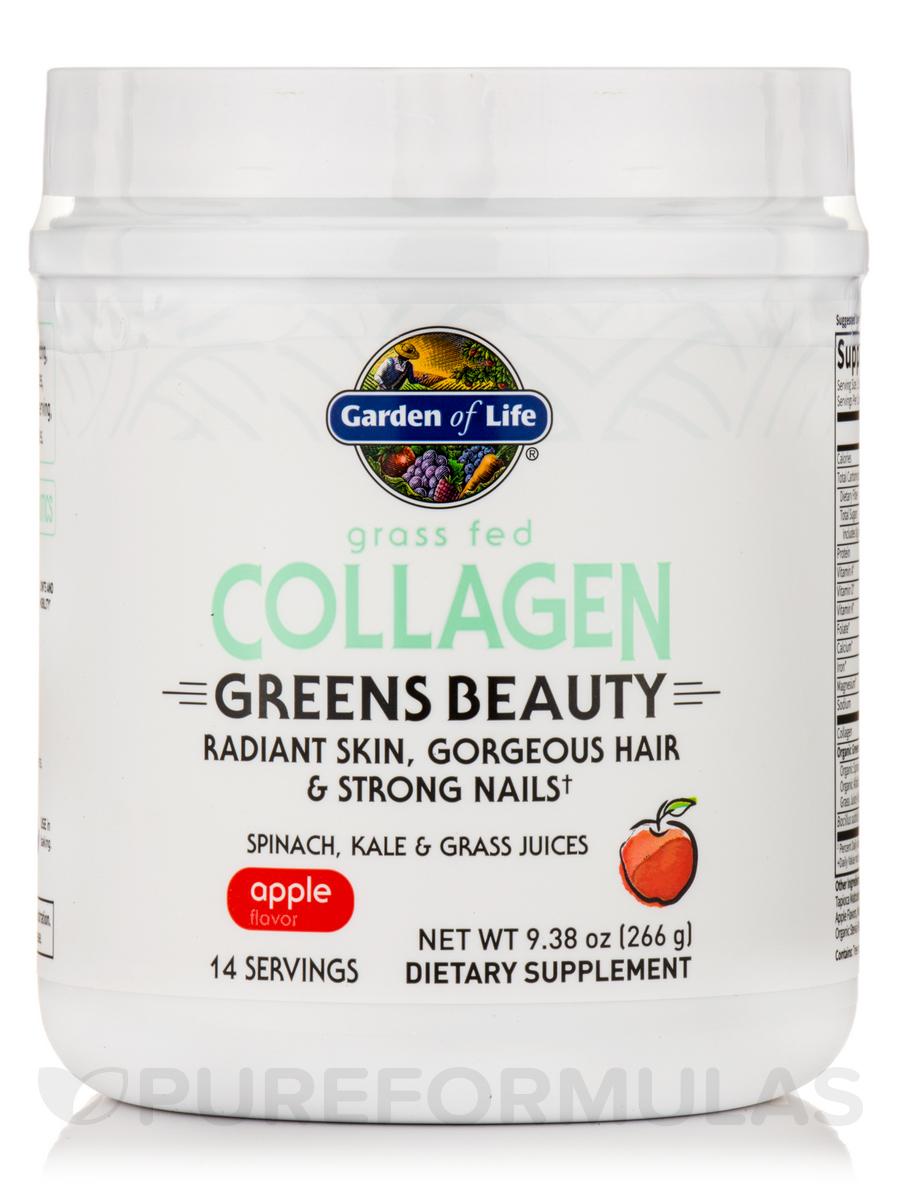 Grass Fed Collagen Greens Beauty Powder, Apple - 9.38 oz (266 Grams)