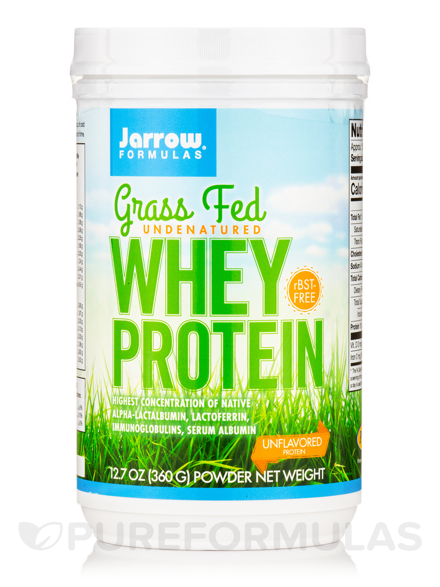 Grass Fed Whey Protein, Unflavored - 12.7 oz (360 Grams)
