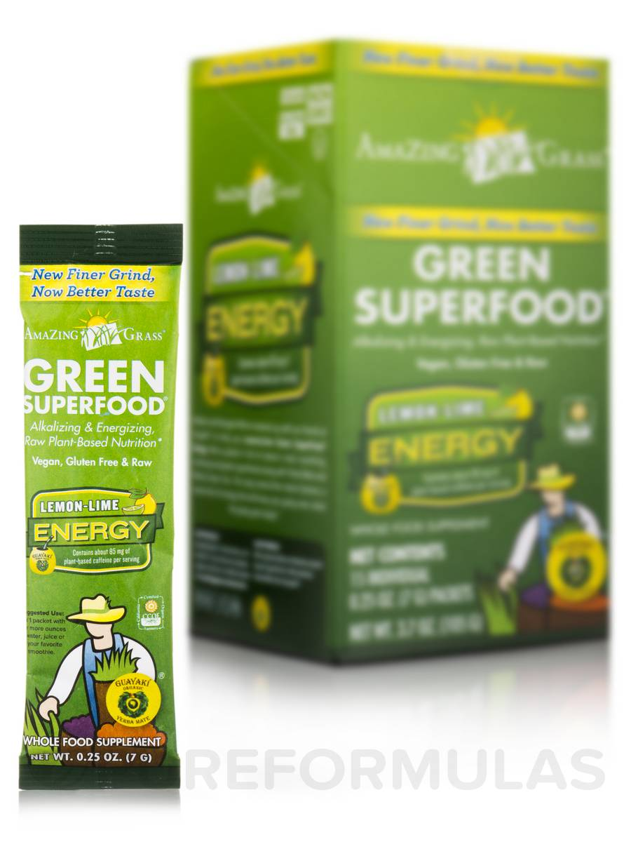 Green SuperFood® Lemon-Lime Energy - Box of 15 Packets (0.25 oz / 7 Grams each)
