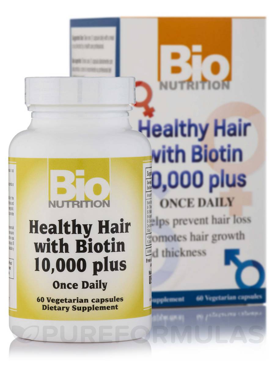Healthy Hair with Biotin 10,000 plus - 60 Vegetarian Capsules