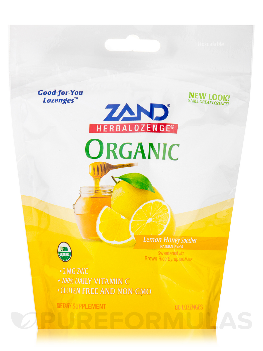 HerbaLozenge® Organic Lemon Honey Soother Natural Flavor - 80 Lozenges