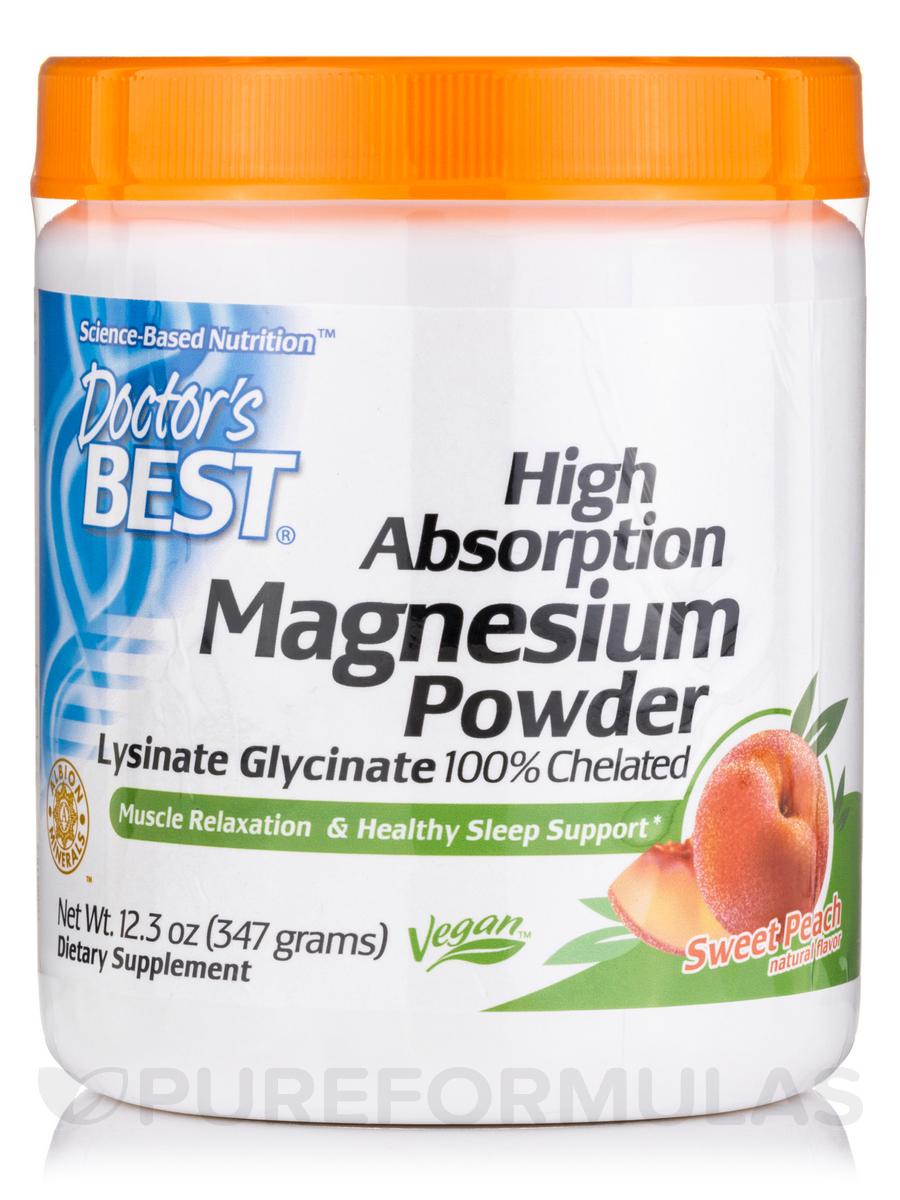 High Absorption Magnesium Powder, Peach Flavored - 12.3 oz (374 Grams)