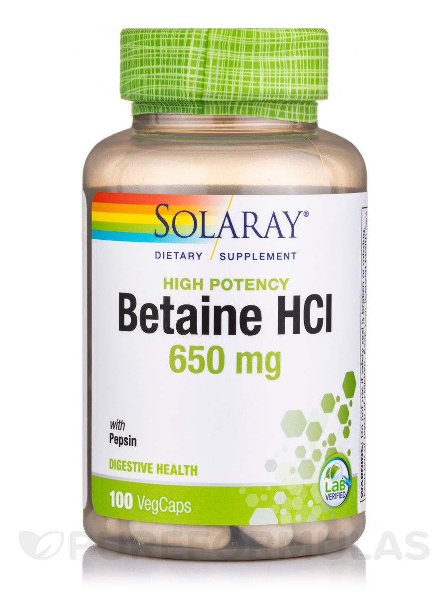 High Potency HCL with Pepsin 650 mg - 100 Vegetarian Capsules