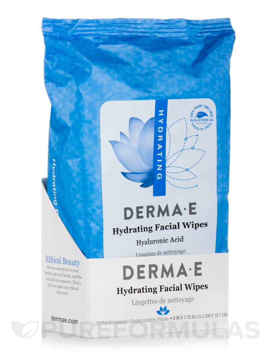 Hydrating Facial Wipes with Hyaluronic Acid - 25 Pre-Moistened Compostable Wipes - 6 x 7.75 in (15.3 x 19.7 cm)
