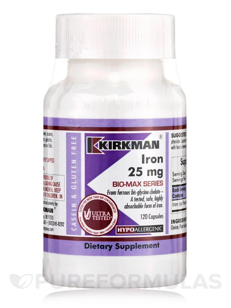 Iron 25 mg -Hypoallergenic - 120 Capsules