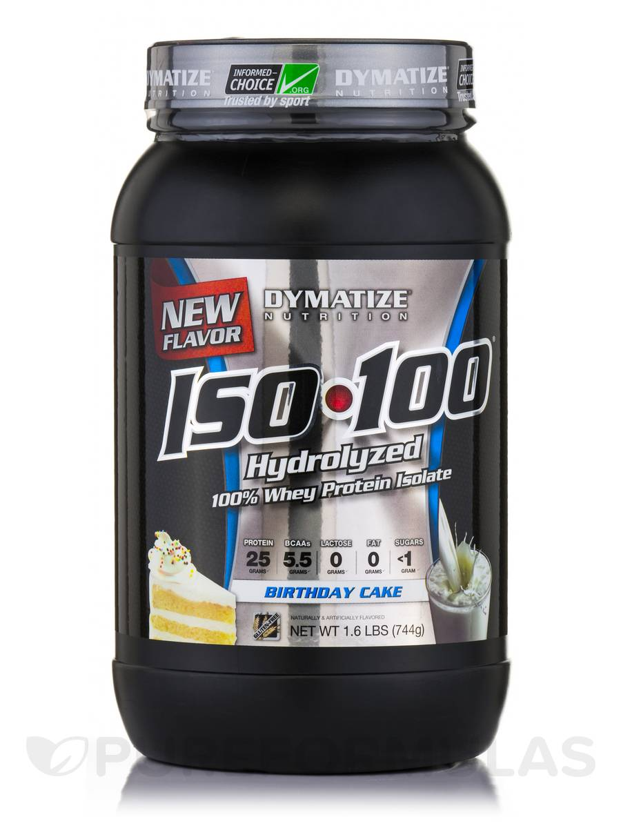 iso 100 hydrolyzed 100 whey protein isolate birthday cake 1 6 lbs 744 grams. Black Bedroom Furniture Sets. Home Design Ideas