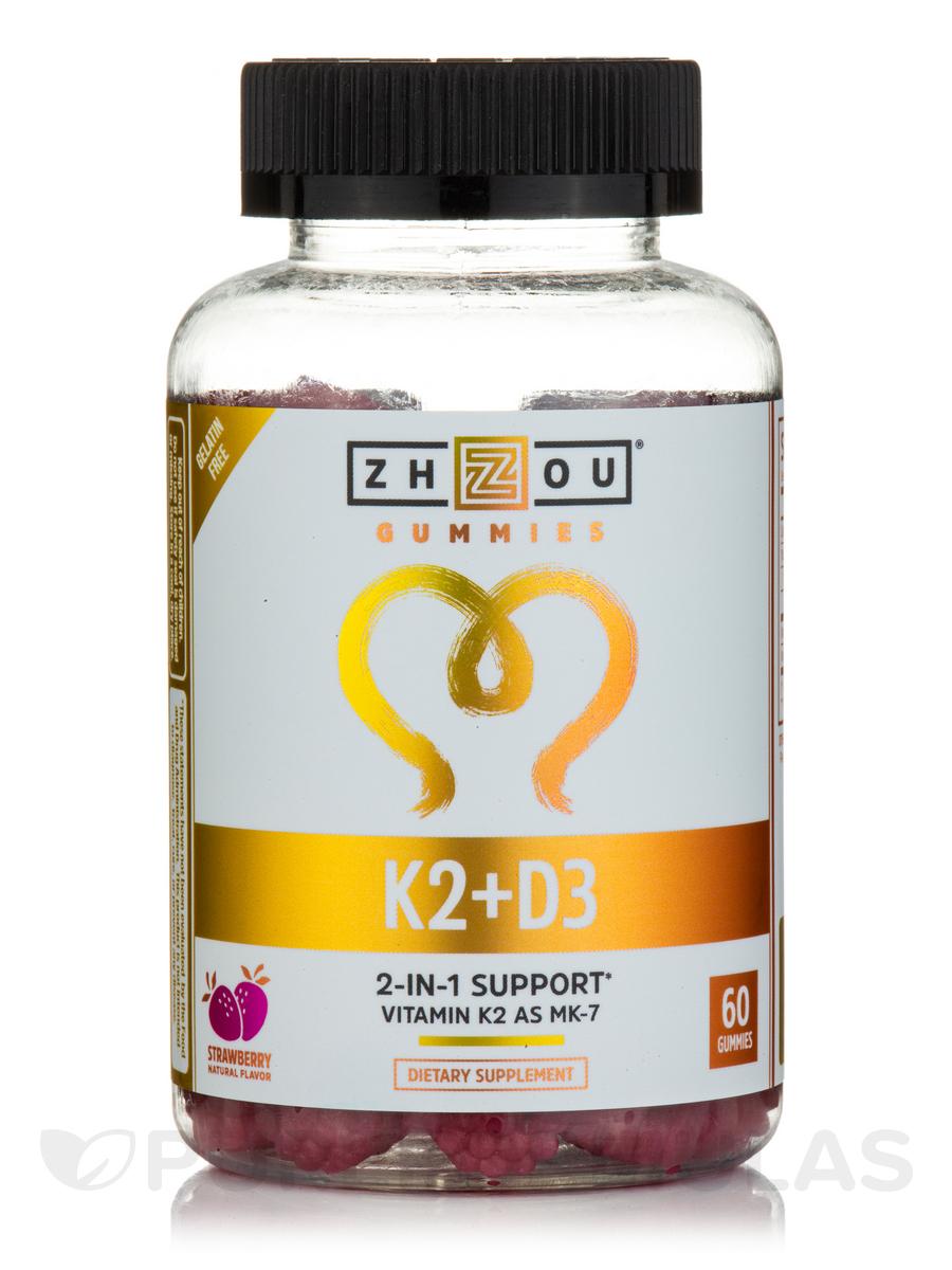Vitamin K2 + D3 Gummies, Natural Strawberry Flavor - 60 Gummies