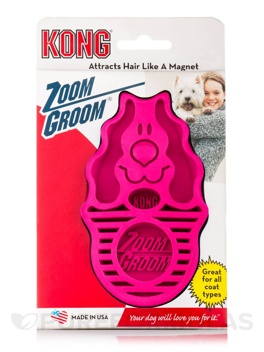 KONG® Zoom Groom for Dogs - Raspberry Color - 1 Count