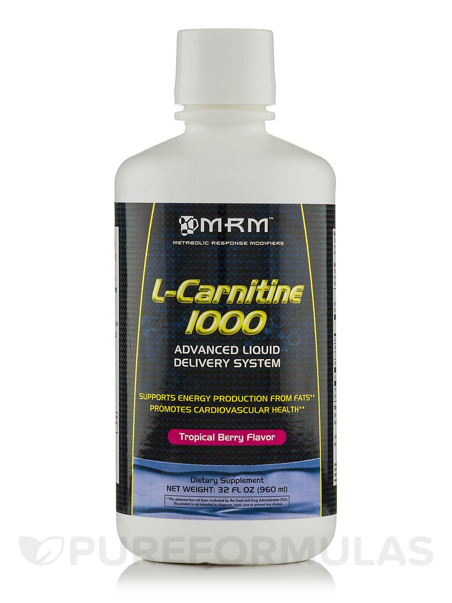 L-Carnitine Liquid 1000 mg All Natural Tropical Berry - 32 fl. oz (960 ml)