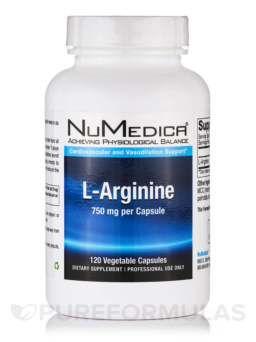 L-Arginine 750 mg - 120 Vegetable Capsules