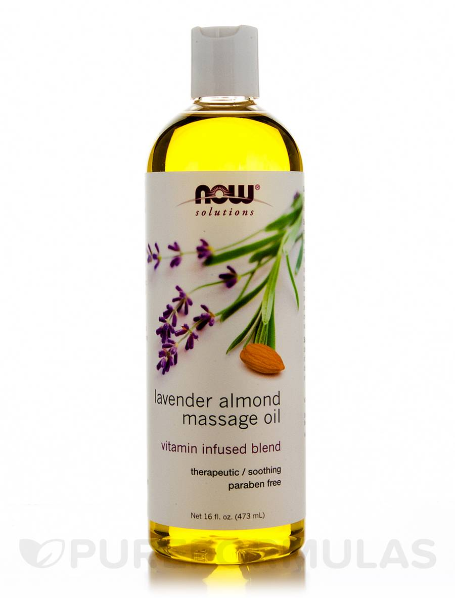 NOW® Solutions - Lavender Almond Massage Oil - 16 fl. oz (473 ml)