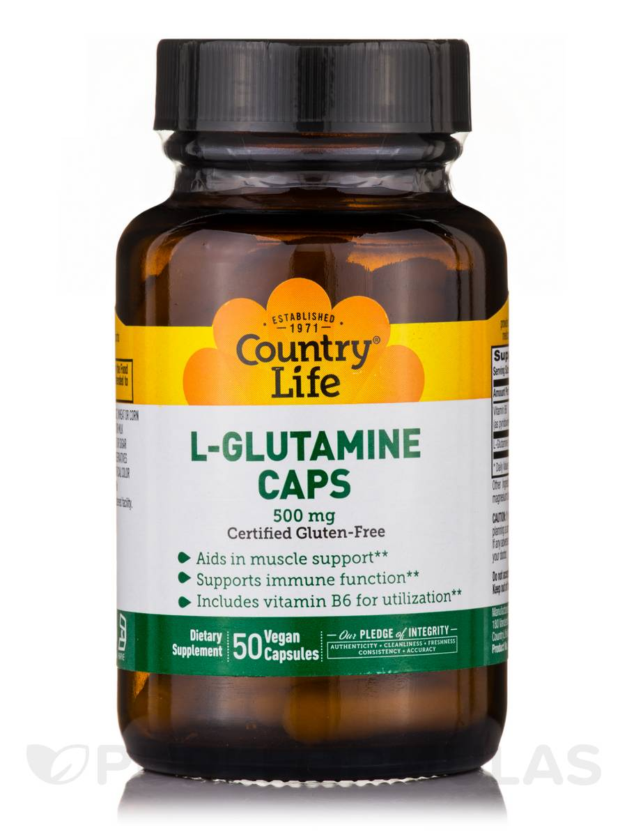 L-Glutamine Caps 500 with B-6 - 50 Vegan Capsules